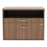Alera ALELS583020WA Open Office Walnut Low File Cabinet / Credenza - 29 1/2 inch x 19 1/8 inch x 22 7/8 inch