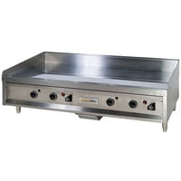 Anets A24X48AGC 48 inch Natural Gas Chrome Countertop Griddle with Thermostatic Controls - 120,000 BTU