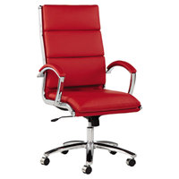 Alera ALENR4139 Neratoli High-Back Red Leather Office Chair with Fixed Arms and Chrome Swivel Base