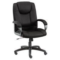 Alera ALELG41ME10B Logan High-Back Black Fabric Office Chair with Fixed Arms and Black Swivel Nylon Base