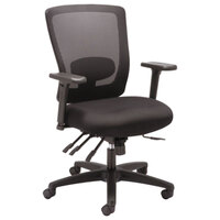 Alera ALENV42M14 Envy Mid-Back Black Multifunction Mesh Office Chair with Adjustable Arms and Black Swivel Nylon Base