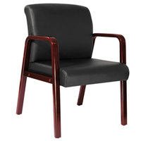 Alera ALERL4319C Reception Black Leather Arm Chair with Cherry Wood Frame