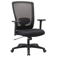 Alera ALENV41B14 Envy High-Back Black Mesh Office Chair with Adjustable Arms and Black Swivel Nylon Base