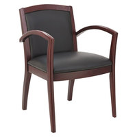 Alera ALERL5219M Reception 500 Series Black Leather Arm Chair with Mahogany Solid Wood Frame
