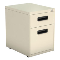 Alera ALEPABFPY Putty Two-Drawer Metal Pedestal File with Recessed Drawer Pulls - 14 7/8 inch x 19 1/8 inch x 21 3/4 inch
