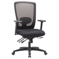 Alera ALENV41M14 Envy High-Back Black Multifunction Mesh Office Chair with Adjustable Arms and Black Swivel Nylon Base