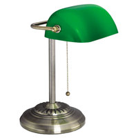 Alera ALELMP557AB Traditional Banker's Lamp with Green Glass Shade