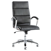 Alera ALENR4119 Neratoli High-Back Black Leather Office Chair with Fixed Arms and Chrome Swivel Base