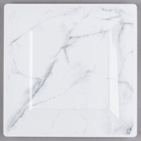 WNA Comet EGS95W6QRY Textures Quarry Collection 9 1/2 inch White Marble Motif Square Plastic Plate - 100/Case