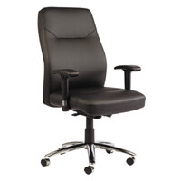 Alera ALELC4119 LC Series Black Self-Adjusting Leather Office Chair with Adjustable Arms and Chrome Swivel Base