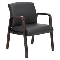Alera ALERL4319E Reception Black Leather Arm Chair with Espresso Wood Frame