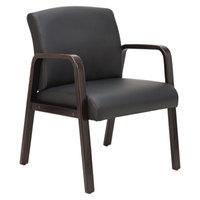 Alera ALERL4319E Reception Black Leather Arm Chair with Espresso Wood Frame