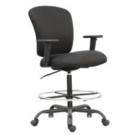 Alera ALEMT4610 Mota Black Big & Tall Fabric Office Stool with Adjustable Arms, Chrome Foot Ring, and Black Swivel Steel Base