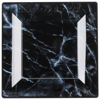 WNA Comet EGS95BK6QRY Textures Quarry Collection 9 1/2 inch Black Marble Motif Square Plastic Plate   - 100/Case