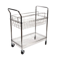 Alera ALEMC3518SR Carry-All 18 inch x 34 7/8 inch Silver Two-Shelf Mail Cart
