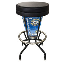 Holland Bar Stool L500030NavyBlkVinyl United States Navy Indoor / Outdoor LED Bar Stool