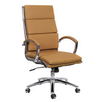 Alera ALENR4159 Neratoli High-Back Camel Leather Office Chair with Fixed Arms and Chrome Swivel Base