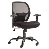 Alera ALEMX4517 Merix Black Mid-Back Big & Tall Mesh Office Chair with Adjustable Arms and Black Swivel Steel Base