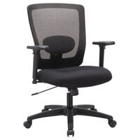 Alera ALENV42B14 Envy Mid-Back Black Mesh Office Chair with Adjustable Arms and Black Swivel Nylon Base