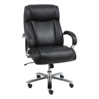 Alera ALEMS4419 Maxxis Black Big & Tall Leather Office Chair with Fixed Arms and Chrome Swivel Base