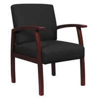 Alera ALERL7611M Reception 700 Series Black Fabric Arm Chair with Mahogany Wood Frame