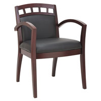 Alera ALERL5119M Reception 500 Series Black Leather Arm Chair with Mahogany Cut-Out Wood Frame