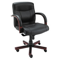 Alera ALEMA42LS10M Madaris Mid-Back Black Leather Office Chair with Fixed Arms and Mahogany Wood Swivel Base