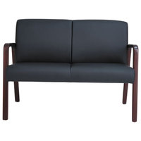 Alera ALERL2219M Reception Lounge Series Black / Mahogany Loveseat - 44 7/8 inch x 26 1/8 inch x 33 inch