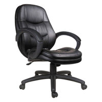 Alera ALEPF4219 PF Series Mid-Back Black Leather Office Chair with Fixed Arms and Black Swivel Nylon Base