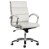 Alera ALENR4206 Neratoli Mid-Back White Leather Office Chair with Fixed Arms and Chrome Swivel Base