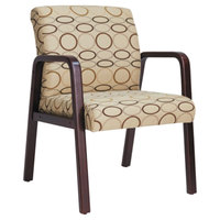 Alera ALERL4351M Reception Tan Patterned Fabric Arm Chair with Mahogany Wood Frame