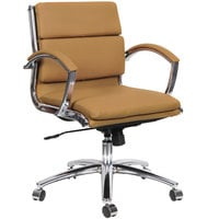 Alera ALENR4759 Neratoli Low-Back Camel Leather Office Chair with Fixed Arms and Chrome Swivel Base