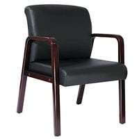 Alera ALERL4319M Reception Black Leather Arm Chair with Mahogany Wood Frame