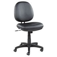 Alera ALEIN4819 Interval Black Leather Office Chair with Black Swivel Nylon Base