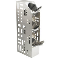 Cal-Mil 1605-55 Squared Stainless Steel 3-Cylinder Vertical Flatware / Condiment Display