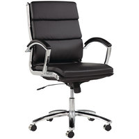 Alera ALENR4219 Neratoli Mid-Back Black Leather Office Chair with Fixed Arms and Chrome Swivel Base