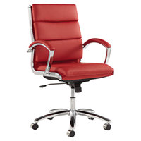 Alera ALENR4239 Neratoli Mid-Back Red Leather Office Chair with Fixed Arms and Chrome Swivel Base