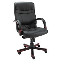 Alera ALEMA41LS10M Madaris High-Back Black Leather Office Chair with Fixed Arms and Mahogany Wood Swivel Base