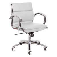 Alera ALENR4706 Neratoli Low-Back White Leather Office Chair with Fixed Arms and Chrome Swivel Base