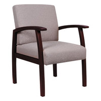 Alera ALERL7651M Reception 700 Series Sandstone Fabric Arm Chair with Mahogany Wood Frame