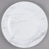 WNA Comet EMP10W6QRY Textures Quarry Collection 10 1/4 inch White Marble Motif Plastic Plate - 10/Pack