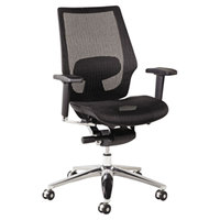 Alera ALEKE4218 K8 Series Black Suspension Mesh Office Chair with Adjustable Arms and Aluminum Swivel Base