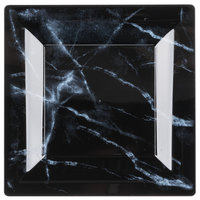 WNA Comet EGS65BK6QRY Textures Quarry Collection 6 1/2 inch Black Marble Motif Square Plastic Plate - 10/Pack