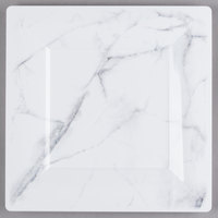 WNA Comet EGS95W6QRY Textures Quarry Collection 9 1/2 inch White Marble Motif Square Plastic Plate - 10/Pack