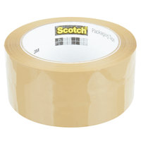 3M 3750T-6 Scotch® 1 7/8 inch x 54.6 Yards Tan Commercial Grade Packaging Tape - 6/Pack