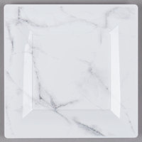 WNA Comet EGS65W6QRY Textures Quarry Collection 6 1/2 inch White Marble Motif Square Plastic Plate - 10/Pack