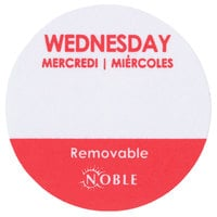 """Noble Products Wednesday 1"""" Removable Day of the Week Label - 1000/Roll"""