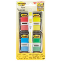 3M 680RYBGVA Post-It® 1 inch x 2 inch Assorted Color Page Flag with Dispensers and Bonus Flag Highlighter   - 4/Pack