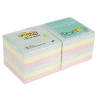 3M R330-12AP Post-It® Marseille Collection 3 inch x 3 inch 100 Sheet Sticky Fan-Folded Pop-Up Note Pad, Pastel Color Assortment - 12/Pack