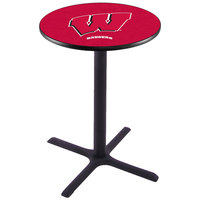 Holland Bar Stool L211B3628WISC-W 28 inch Round University of Wisconsin Pub Table